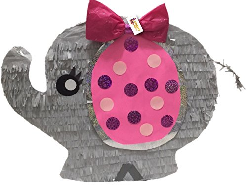 Elephant Pinata (It's a Girl Pink and Gray Baby Elephant Pinata Baby Shower Party Favor)