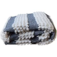 DUFMOD Handwoven Cotton Area Rug (40 x 75 White and Charcoal Striped)