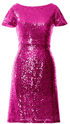 MACloth Women Cap Sleeve Sequin Cocktail Dress Boat Neck Short Bridesmad Dress Fuchsia 7tc7MIp7