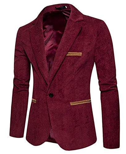 Wine Solid Jacket Gocgt Sleeved Slim Red Suit Turn Corduroy Down Long Color Mens qSwZqU