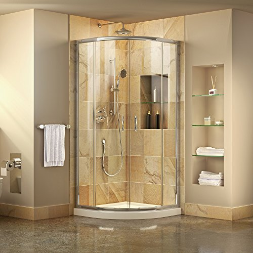 - DreamLine Prime 33 in. x 74 3/4 in. Semi-Frameless Clear Glass Sliding Shower Enclosure in Chrome with White Base Kit, DL-6701-01CL