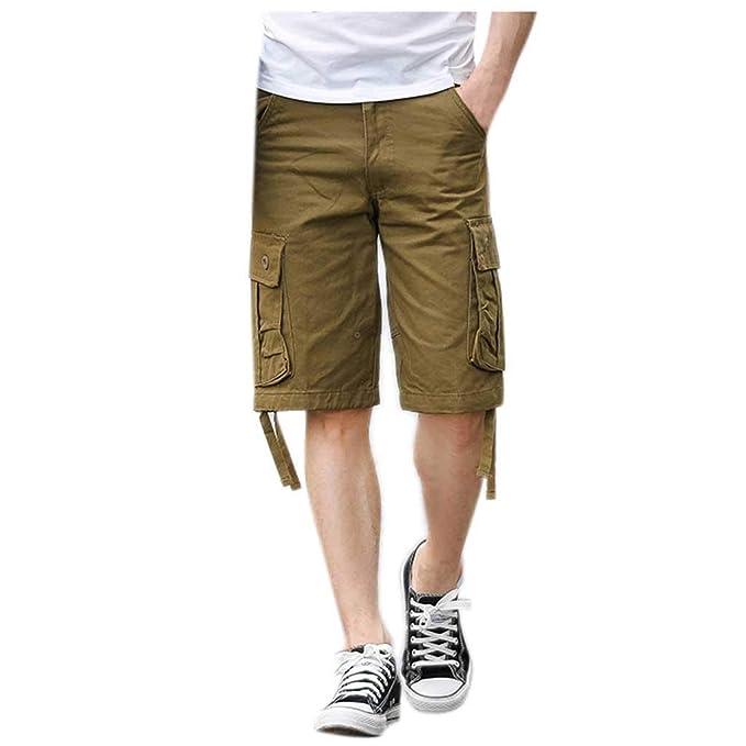 2c99383f1e Pantalones Cortos de Carga para Hombres Múltiples Bolsillos Moda Color  Sólido Bermuda Jogging Bolsillos Deportivo Deportes al Aire Libre Oficina  Ocio Diario ...