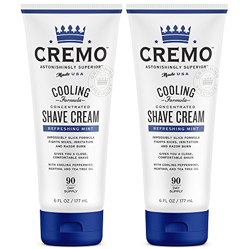 (Cremo Cooling Shave Cream, Astonishingly Superior Smooth Shaving Cream Fights Nicks, Cuts and Razor Burn, 6 Fluid Ounces, 2-Pack)