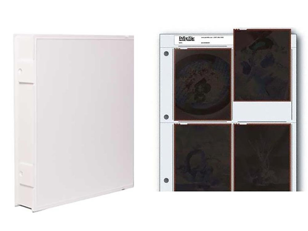 Vue-All Archival Safe-T-Binder with Rings, White with Archival Negative Pages Holds Four 4 x 5 Inches Negatives or Transparencies, Pack of 25 by Omega Brandess Distribution (Image #1)