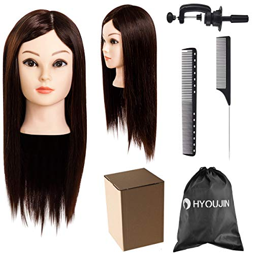 HYOUJIN 70% Real Hair Cosmetology Training Head 21 inch Hairdresser Mannequin Head with Clamp Styling Hair Comb Professional Hair Combs Set ()