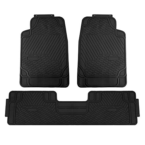 (FH Group F11309BLACK Solid 3 Piece Heavy Duty All Weather Floor Mats Black)