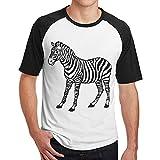 Sakanpo Men's Hand-Painted Zebra Raglan Short Sleeve Baseball T Shirt