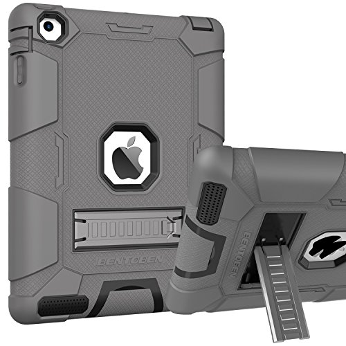 iPad 2 Case, iPad 4 Case,iPad 3 Case,BENTOBEN Kickstand Three Layers Hybrid Heavy Duty Full Body Rugged Shockproof Drop Resistance Anti-slip Protective Case Cover for iPad 2/3/4 Retina,Dark Gray/Black