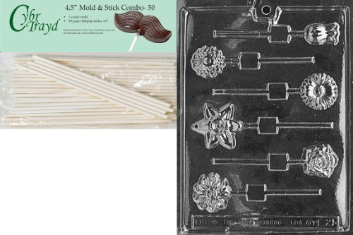 Cybrtrayd Assorted Flowers Lolly Fruits and Vegetables Chocolate Candy Mold with 50 4.5-Inch Lollipop Sticks - Chocolate Fruit Flowers
