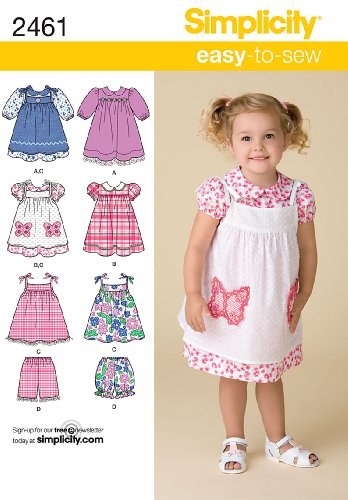 Simplicity Easy-to-Sew Pattern 2461 Toddler Dress, Pinafore, Shorts Easy Sew Size 1/2-1-2-3-4 Pinafore Dress Pattern