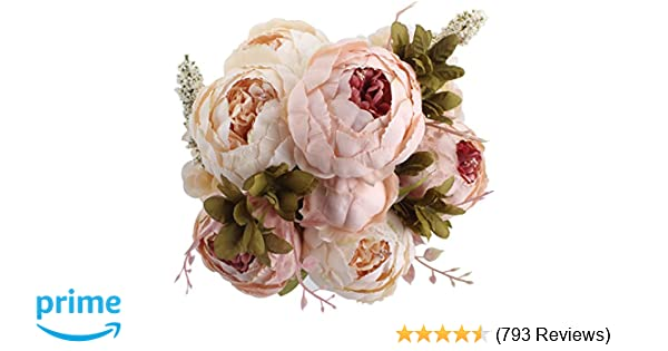 Amazon duovlo fake flowers vintage artificial peony silk amazon duovlo fake flowers vintage artificial peony silk flowers wedding home decorationpack of 1 light pink home kitchen junglespirit Choice Image