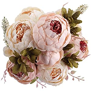 Duovlo Fake Flowers Vintage Artificial Peony Silk Flowers Wedding Home Decoration,Pack of 1 (Light Pink) 54