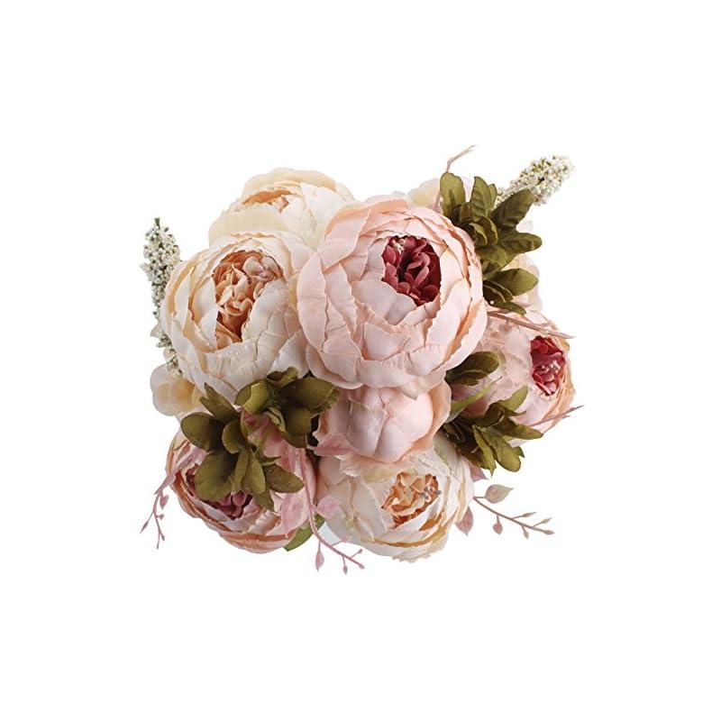 silk flower arrangements duovlo fake flowers vintage artificial peony silk flowers wedding home decoration,pack of 1 (light pink)