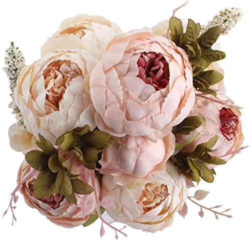Duovlo Fake Flowers Vintage Artificial Peony Silk Flowers Wedding Home Decoration,Pack of 1 (Light Pink) -