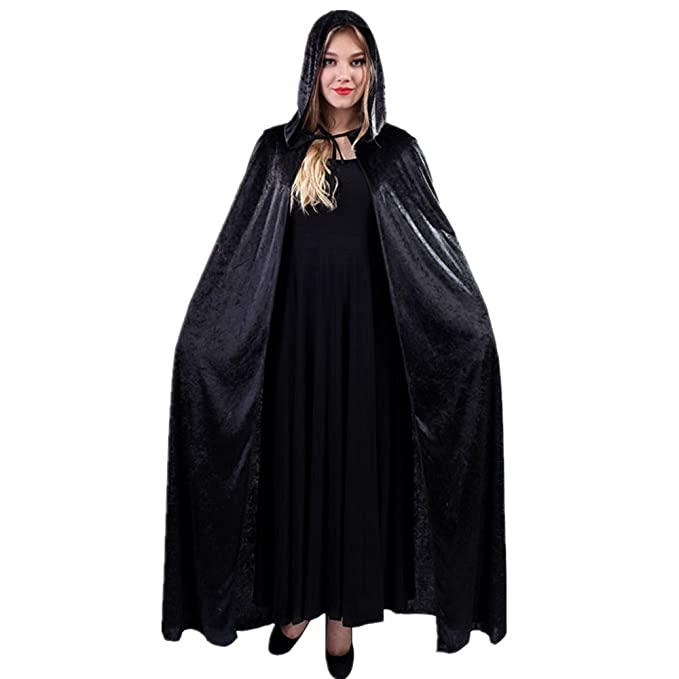 women halloween costume velvet hooded cloak dress up cosplay wizard party capes black