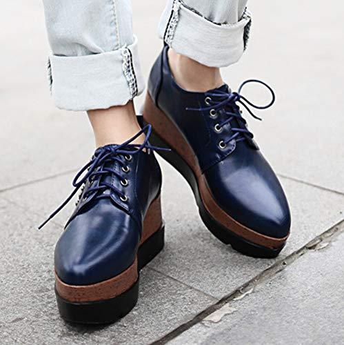 Femme Derbies Chaussure à Rivets Easemax Bleu Compensée Lacets Mode w4qddAx0