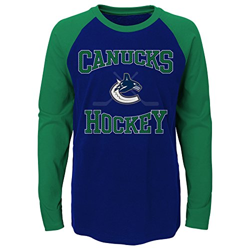 Vancouver Canucks T-shirts - NHL Vancouver Canucks Youth Boys Morning Skate Long Sleeve Tee, X-Large(18), Dark Blue