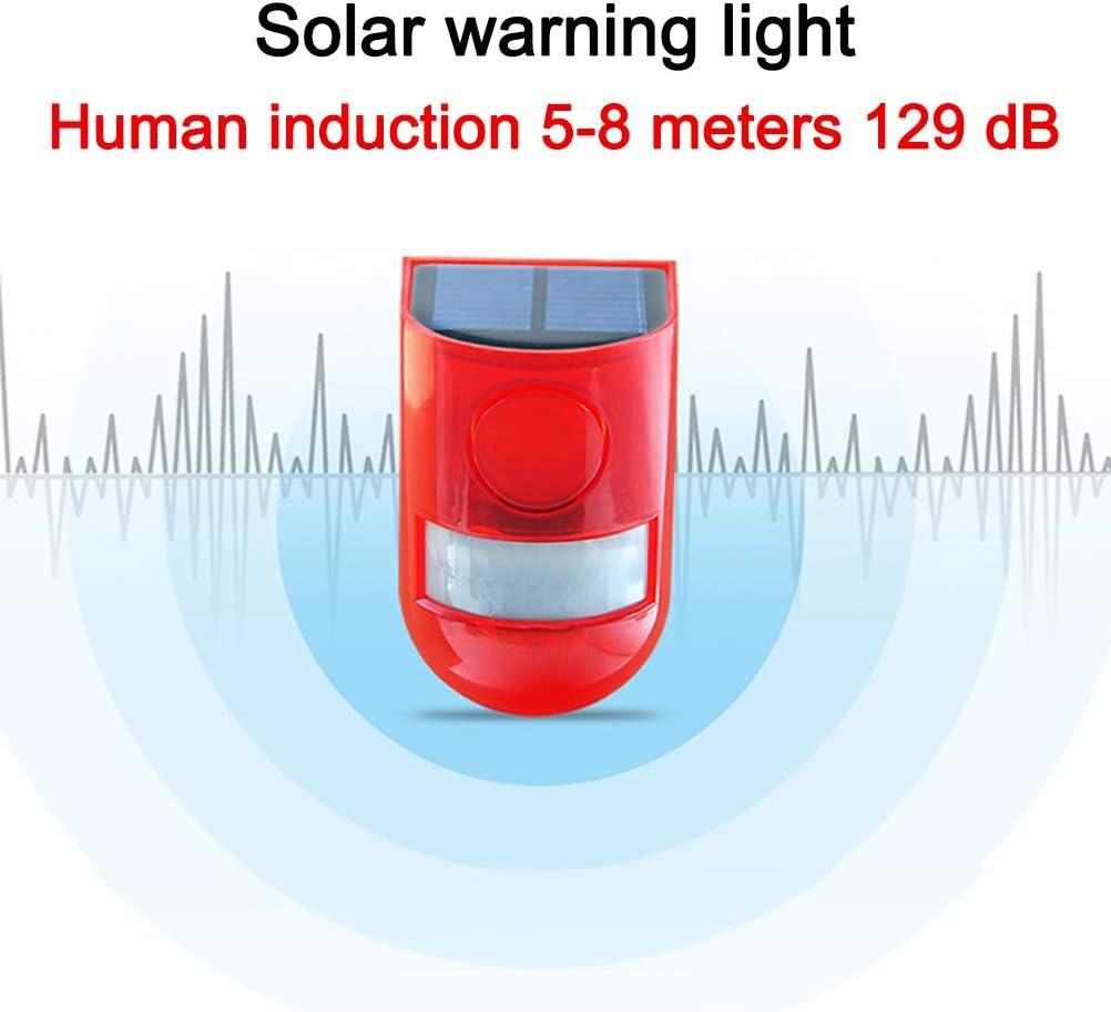 Luz de Alarma Solar MIFASA Unidad Luz de Alarma de Control Remoto LED Luz de Seguridad antirrobo para Exteriores Resistente al Agua Luz de Seguridad