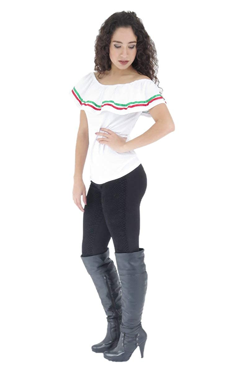 Women's Mexican Fiesta Off-Shoulder White Lycra Blouse - DeluxeAdultCostumes.com