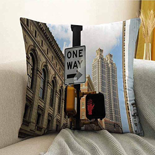 FreeKite City Bedding Soft Pillowcase One Way Sign in Front of Atlanta Skyline Downtown Apartments Urban View Hypoallergenic Pillowcase W16 x L24 Inch Ivory Black Pale Blue