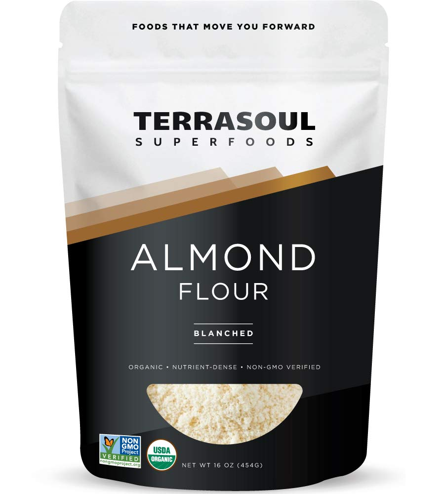 Terrasoul Superfoods Organic Almond Flour, 1 Lb - Fine Texture | Grain-Free | Gluten-Free | Perfect for Keto Baking