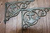 Antique-look Anchor Wall Shelf Brackets, Bronze-look Cast Iron, B-39, Set of 2