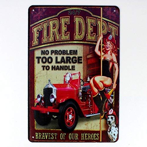 Metal Tin Sign fire dept Sexy Lady Decor Bar Pub Home Vintage Retro TIN Sign 7.8X11.8 INCH
