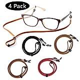Eyewear Retainer,Premium ECO Leather Eyeglasses String Holder Chain Necklace Adjustable Glasses Cord Lanyard (Pack of 4)