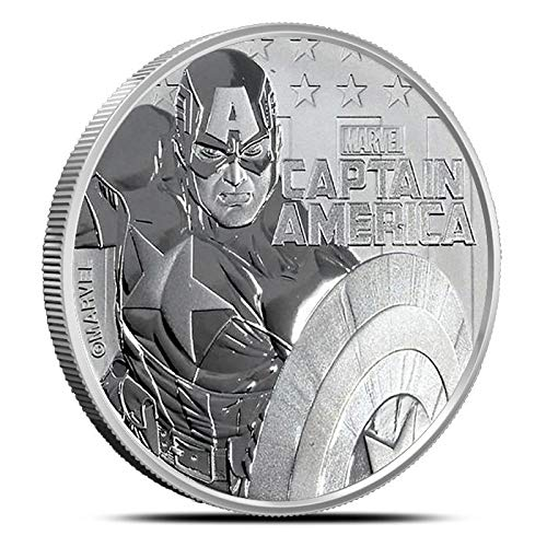 2019 TV Tuvalu 1 oz .9999 Fine Silver $1 Marvel Series Captain AmericaTM Acrylic Capsule Included $1 Brilliant Uncirculated