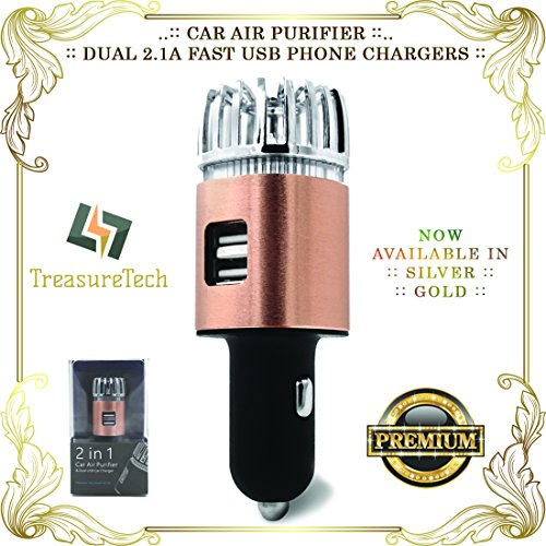 Price comparison product image [Treasure6] Car Air PURIFIER (w / Proofs) + Twin USB PHONE CHARGERS 12V Adapter / / 2018 Upgrade Effects (proofs) / / Auto Odor Cigarette Smoke Eliminator (GOLD color + Blue LED + 2Pack for 22.22 ea)