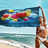 Beihai1Sun Home Towels,Birthday Vibrant Colored Realistic Balloons and Party Flags on Blue Backdrop Happiness,for Bathroom, Shower Towel, Gym,W55x27L, Multicolor