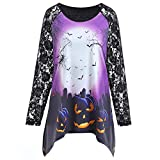 Halloween Women Tunic Shirts - Womens Long Sleeve O Neck Lace Patchwork Pumpkin Casual Blouses Fashion T-Shirt Pullover