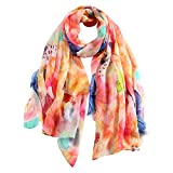 STORY OF SHANGHAI Womens Large Mulberry Silk Scarf Ladies Floral Print Shawl Wraps (FHJDX09)