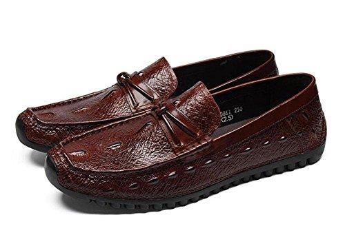 Männer Slip-On Oxford Casual Sommer Breathable Erbsen Schuhe Herren Schuhe Korean Casual Schuhe Straußen Muster Schicht aus Leder Schuhe , brown , 38