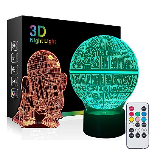 Death Star Platform 3D Lamps with Remote Control, 2-in-1 Death Star & R2D2 Nightlight 7 Colors Table Desk Lamps Holiday Xmas Gifts for Baby Toddler. ()