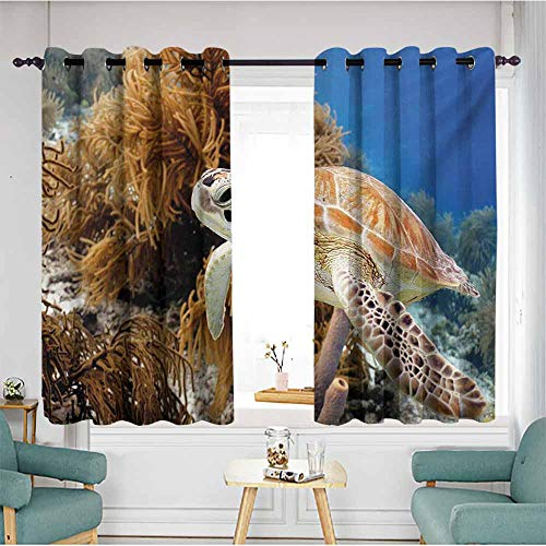 Window Curtain Panel,Turtle Coral Reef and Sea Turtle Close Up Photo Bonaire Island Waters Maritime,Darkening Thermal Insulated Blackout,W63x45L,Pale Coffee Brown -