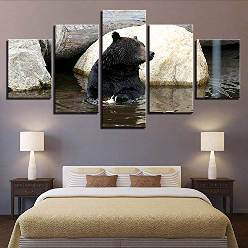 Fbhfbh Canvas Painting Wall Art 5 Pieces Hd Prints Animal Home Decor Black Bear Modular for Living Room Pictures Frame Artwork Poster,8 X 14/18/22Inch,with Frame