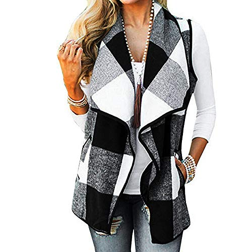 CUCUHAM Womens Vest Plaid Sleeveless Lapel Open Front Cardigan Sherpa Jacket Pockets Winter(Y2-White,Medium) -