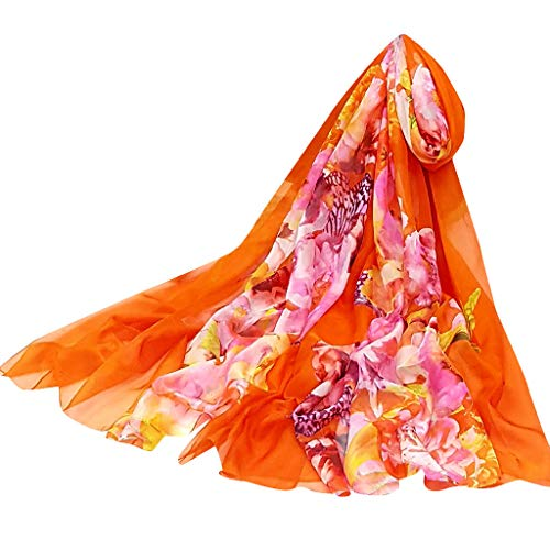 Écharpe Imprimer Mousseline De Protection Élégant Été Femmes Mode Et Soie Adeshop Printemps Foulards Mince Châle Doux Féminine Orange01 Uv Plage Léger Chic 0qEnw8Y