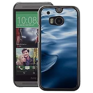 A-type Arte & diseño plástico duro Fundas Cover Cubre Hard Case Cover para HTC One M8 (Waves Ripples Water Blue Deep Ocean)