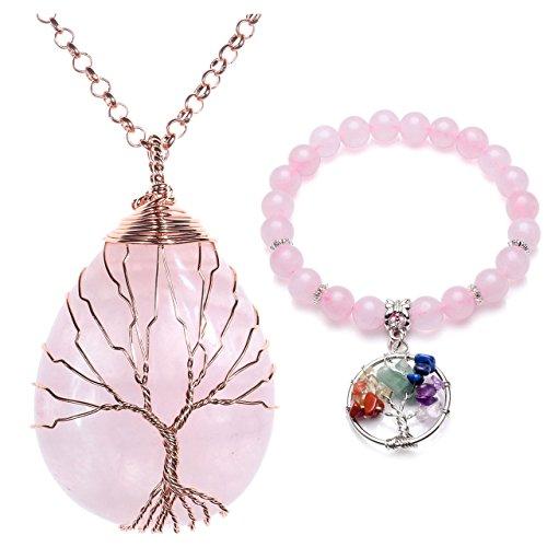 aling Crystal Chakra Tree Of Life Wire Wrap Water Drop Pendant Necklace Bracelet Jewelry Set(Rose Quartz #2) (Life Pendant Set)