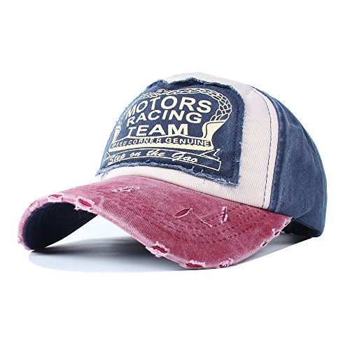 Vankerful Vintage Washed Denim Cotton Sports Baseball Cap For Women And Men Burgundy Navy
