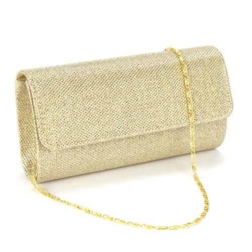 Anladia Glitzernd Damen Tasche Clutch Handtasche Abendtasche Ausgehtasche Schultertasche Hochzeit Party Fest Golden a5zIr