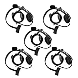 Retevis 2 Way Radio Headset Earpiece Noise Cancelling Overhead Headset Boom Mic Compatible with Kenwood Baofeng UV-5R BF-888s Retevis H-777 RT22 RT21 RT27 H-777S RT-5R Walkie Talkies (5 Pack)