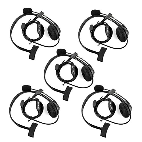 Retevis 2 Way Radio Headset Earpiece Noise Cancelling Overhead Headset Boom Mic Compatible with Kenwood Baofeng UV-5R BF-888s Retevis H-777 RT22 RT21 RT27 H-777S RT-5R Walkie Talkies (5 Pack) (Headsets Way Radios 2)