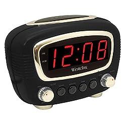 Westclox 70048BK Vintage Retro Led Alarm Clock, Black
