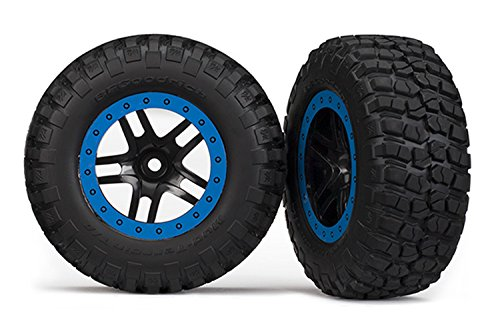Traxxas 5883A BF Goodrich Mud Terrain Tires, Pre-Glued on Split Spoke Wheels (Pair) ()