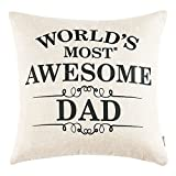 #9: Anickal Father's Day Gifts Best Gifts for Dad World's Most Awesome Dad Quote Print Pillow Covers 18 x 18 Inch for Father's Day Home Decoration
