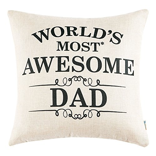 Anickal Best Gifts for Dad World's Most Awesome Dad Quote Print Pillow Covers 18 x 18 Inch for Father's Day Home (Best Dad Pillows)