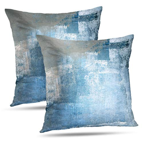 WAYATO Abstract-Art 18 x 18 Decorative Pillow Covers, Grey and Blue Abstract Art Modern Contemporary Double-Sided Pattern Square Sofa Cushion Covers for Living Room ()